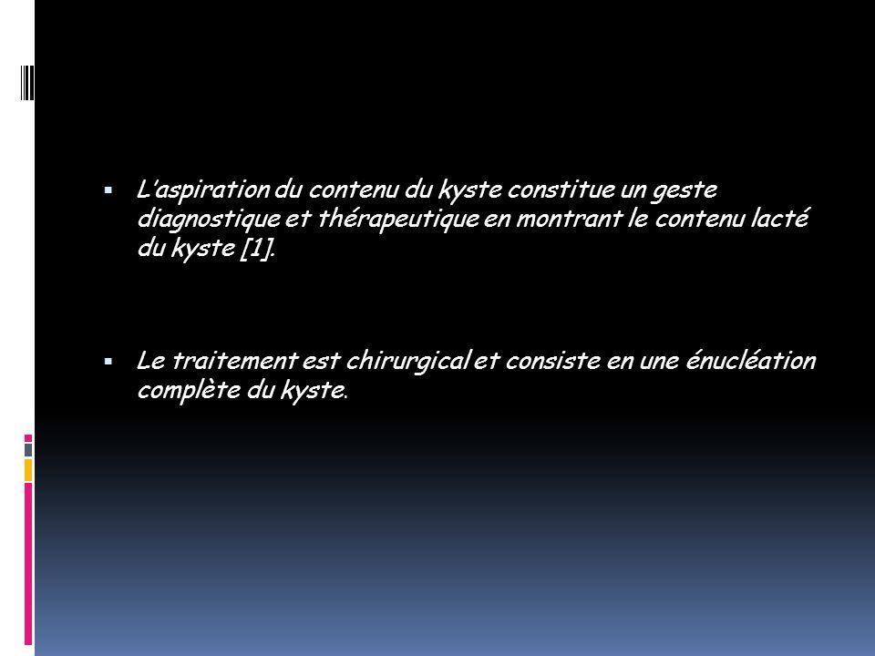 L'aspiration du contenu du kyste constitue un geste diagnostique et thérapeutique en montrant le contenu lacté du kyste [1].